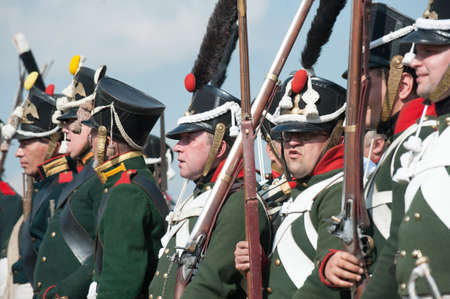 accessories horse: St. Petersburg, Russia - August 26: Military historical reconstruction of the War of 1812. Battle Russian and French armies at Borodino, the Battle of Moscow river.