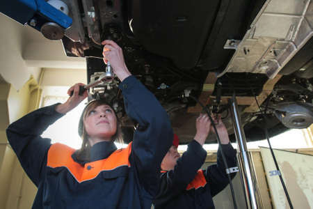 nissan: Russia, Saint-Petersburg - February 16, 2015: At the vocational college students gain knowledge and skills to repair car brand Nissan, Editorial