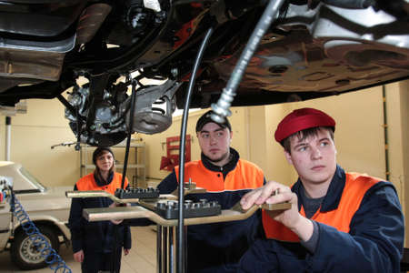 vocational: Russia, Saint-Petersburg - February 16, 2015: At the vocational college students gain knowledge and skills to repair car brand Nissan, Editorial