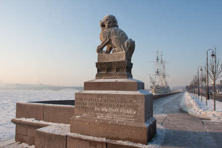 a pair of: St. Petersburg, Russia - February 7, 2012: Chi-tsza (Chi-za) - a pair of granite mythological guardian lions, established during the descent to Neva Petrovsky quay in St. Petersburg from China on a frosty day.