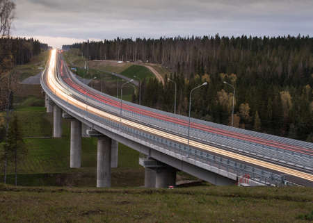 st  petersburg: Road bridge through the forest on the St. Petersburg - Sortavala