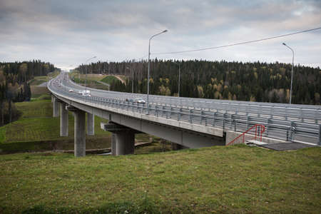 express lane: Road bridge through the forest on the St. Petersburg - Sortavala