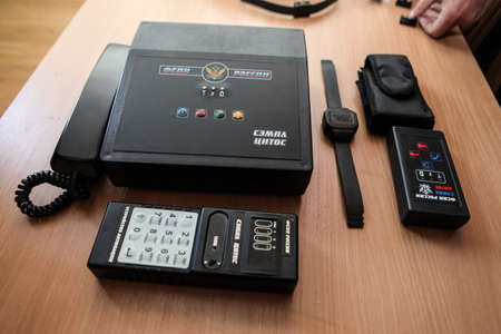 penal system: St. Petersburg, Russia - April 26 2012: Presentation of the electronic bracelet and tracking system for  convicted under the federal penitentiary system Editorial