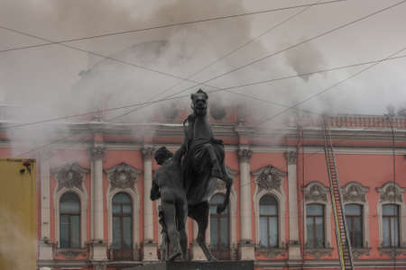 nevsky prospect: St. Petersburg, Russia - February 28, 2012: In the palace of the Princes Beloselsky-Belozersky on the Nevsky Prospect St. Petersburg there was a fire