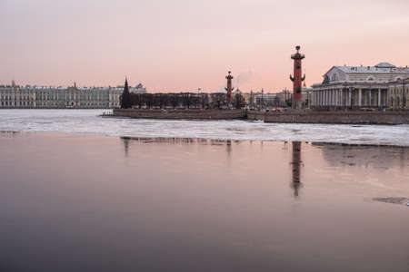 piter: St.Petersburg, Russia - January 2, 2016: Panorama of the city. Neva,  Rostral columns in winter evening.