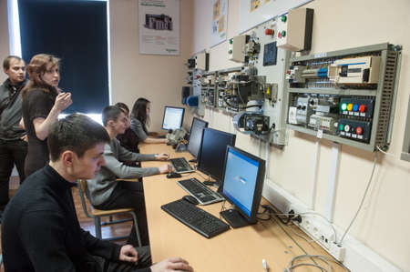 St. Petersburg, Russia - February 15, 2012: International Scientific and Educational Center of Schneider electric. Students learn in a classroom electrical equipment. Editorial
