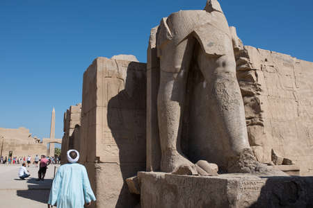 Luxor, Egypt - November 27, 2014: Karnak Temple complex, open-air museum is visited by numerous tourists from all over the world.