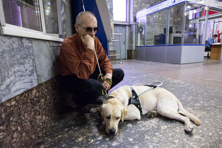 helpmate: St. Petersburg, Russia - July 17 2015: School to teach the blind to use the subway with dogs allowed.