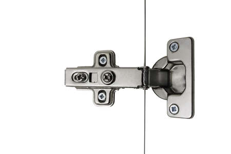 Hinge Kitchen assembled on white doors, steel, isolation, simple Standard-Bild