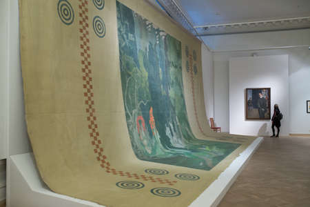 famous paintings: Saint-Petersburg, Russia - February 24, 2016: Hall of the Russian Museum, where paintings by famous Russian theater artist Leon Bakst, working in Paris with Diaghilev in the first half of the 20th century.
