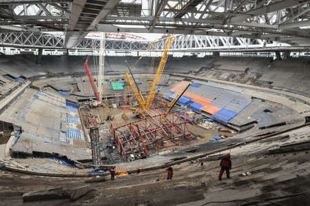 cup of russia: Saint-Petersburg, Russia - February 11, 2016: Construction of a stadium for the 2018 World Cup. View of the inside construction site