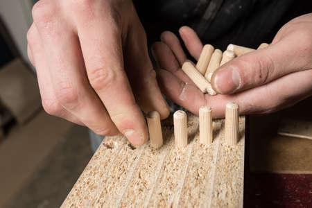 dowel: Carpenter hammering wood dowel in a piece of wood
