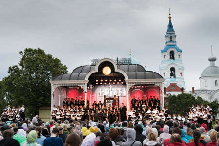 illuminator: Valaam Island, Russia - July 28, 2015: First St. Vladimir Valaam Festival Illuminator of the Orthodox singing. Public free access for all comers. Orthodox choir is singing