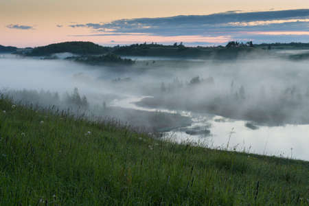 swampy: Fog over the swampy river before sunrise