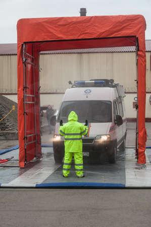 liquidate: Saint-Petersburg, Russia - April 6, 2016: Item sanitization personnel and radiation decontamination equipment, attracted to liquidate radiation accidents Editorial