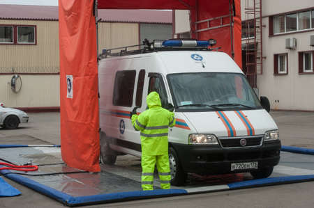encapsulated: Saint-Petersburg, Russia - April 6, 2016: Item sanitization personnel and radiation decontamination equipment, attracted to liquidate radiation accidents Editorial
