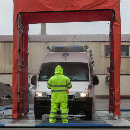 protective suit: Saint-Petersburg, Russia - April 6, 2016: Item sanitization personnel and radiation decontamination equipment, attracted to liquidate radiation accidents Editorial