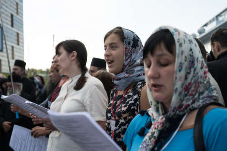 pageant: Valaam Island, Russia - July 28, 2015: First St. Vladimir Valaam Festival Illuminator of the Orthodox singing. Public free access for all comers. Orthodox choir is singing