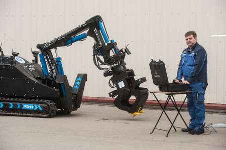 Saint-Petersburg, Russia - April 6, 2016: Robotics complex is designed for remote installation demolition, rescue special missions in the liquidation of the radiation accident Editorial