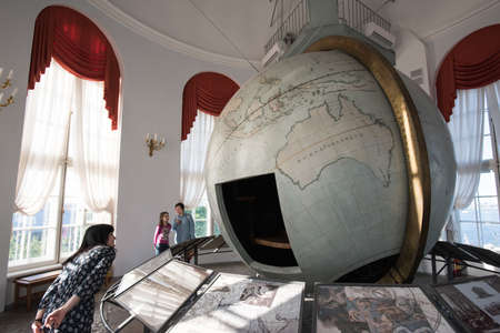 anthropology: Saint-Petersburg, Russia - May 23, 2016: Big Gotorpsky globe-planetarium in the State Museum of Anthropology and Ethnography (Kunstkamera). Made in Germany in the 17th century and given to Russia. Editorial