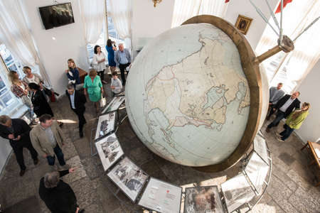 17th century: Saint-Petersburg, Russia - May 23, 2016: Big Gotorpsky globe-planetarium in the State Museum of Anthropology and Ethnography (Kunstkamera). Made in Germany in the 17th century and given to Russia. Editorial