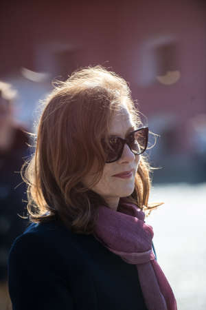 film festival: Saint-Petersburg, Russia - September 25, 2016: The famous French actress Isabelle Huppert on Film Festival Message to Man