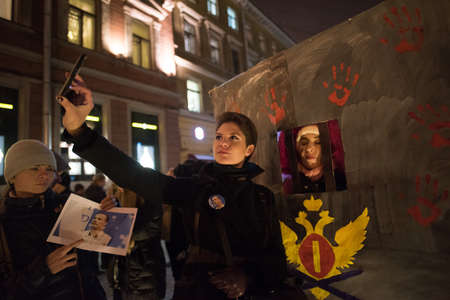 sanctioned: Saint-Petersburg, Russia - November 3, 2016: A rally in support of Russian vocally oppose civil activist Ildar Dadin, political prisoner.