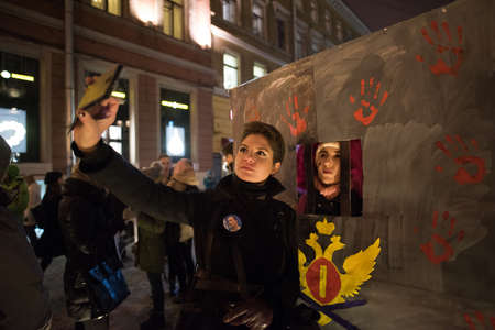 political prisoner: Saint-Petersburg, Russia - November 3, 2016: A rally in support of Russian vocally oppose civil activist Ildar Dadin, political prisoner.