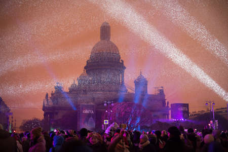 isaac s: Saint-Petersburg, Russia - November 4, 2016: Issakievsky Cathedral - the main attraction during the festival of light in the late evening.