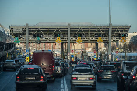 transponder: Saint-Petersburg, Russia - December 4, 2016: toll fare on the car on the toll highway Western High-Speed Diameter. Cars waiting in line.