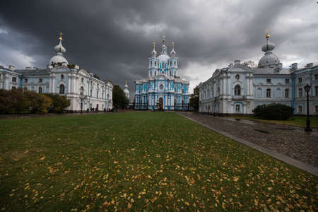 st petersburg: Saint-Petersburg, Russia - October 1, 2016: Smolny Cathedral - Orthodox church is a part of the architectural ensemble of the Smolny convent. Editorial