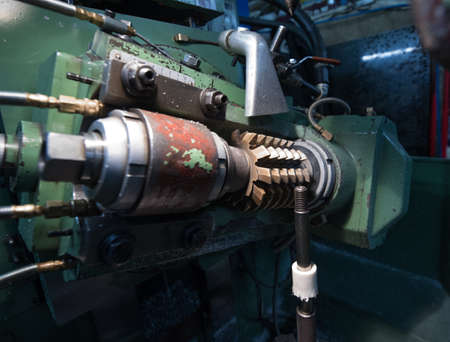 milling machine: The operating mechanism of the milling machine close-up