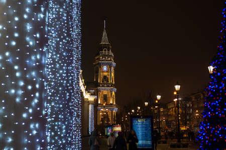 Saint-Petersburg, Russia - December 15, 2016: tower of town council on Nevsky prospect avenue, 1804, architect D. Ferrari