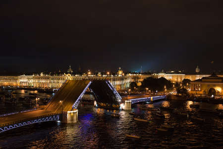 Saint-Petersburg, Russia - July 16, 2016: Aerial view of the Palace Bridge and the Hermitage at night