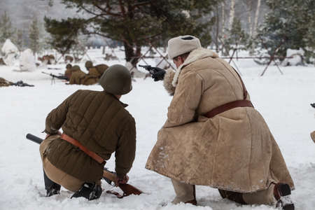 nazi: Saint-Petersburg, Russia - January 24, 2015: Military-historical reconstruction devoted to anniversary of complete liberation of Leningrad from the Nazi blockade.