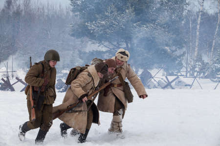 Saint-Petersburg, Russia - January 24, 2015: Military-historical reconstruction devoted to anniversary of complete liberation of Leningrad from the Nazi blockade.