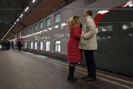 Saint-Petersburg, Russia - February 1, 2015: Passengers at the station before the departure of the train St. Petersburg-Moscow
