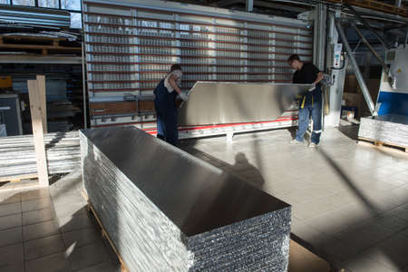 fireproof: Otradnoe of Leningrad region, Russia - February 14, 2017: The plant Geser  produces marine equipment. Manufacture and assembly of metallic sandwich panels for ships