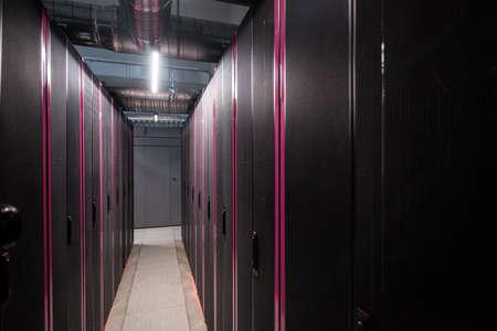Interior view of a data center's server station