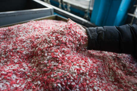 Plastic colored granulated crumb at the plant for processing and casting products from domestic and industrial waste