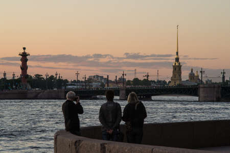 St. Petersburg, Russia - June 13, 2013: The city center during the white night. Rostral columns during the twilight.