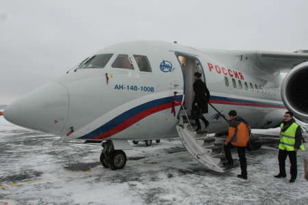 St. Petersburg, Russia - December 24, 2009: A twin-engine turbojet aircraft AN-148-100V , built according to the aerodynamic configuration of a high-performance cantilever with a small number of passengers. Sajtókép