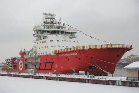 St. Petersburg, Russia - December 20, 2018: new icebreaker Andrei Vilkitsky. This is a high-tech vessel with a diesel-electric propulsion system and fully automated control