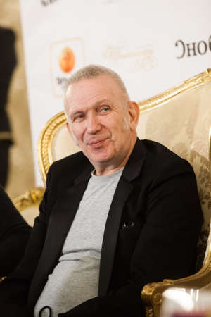 St. Petersburg, Russia - January 30, 2020: Jean Paul Gaultier (Gotye), French haute couture fashion designer, president of his own fashion house during his fashion shows