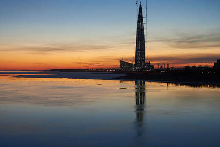 St. Petersburg, Russia - April 12, 2018: High-rise business center - the tallest building in Europe - a gasprom tower made of metal and glass against the sunset sky