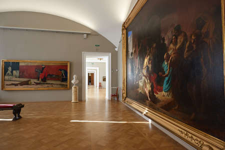 St. Petersburg, Russia - February 17, 2015: Empty hall without spectators. State Russian Museum. Painting The Last Day of Pompeii Bryullov. Nobody Editorial