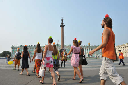 St. Petersburg, Russia - August 7, 2010: Flashmob in the city center in summer on Nevsky Prospekt