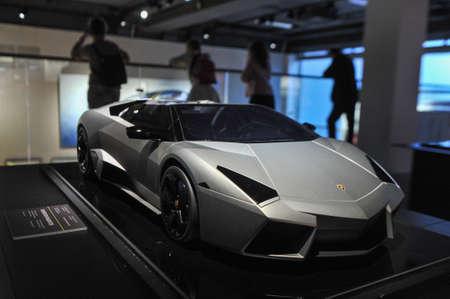 Saint Petersburg, Russia - September 7, 2017: Exhibition of Lomborgini cars in the Erarta Museum of Contemporary Art. Visitors to the exhibition Lamborghini