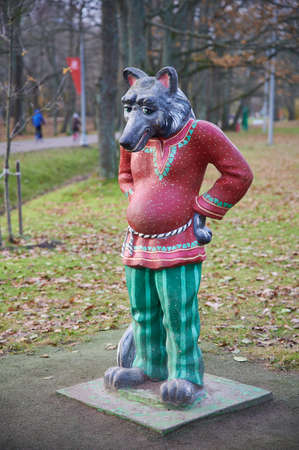 Saint Petersburg, Russia - November 4, 2020: Sestroretsk, Dubki park, playground, colorful sculpture of the hero of the Russian fairy tale, the Gray Wolf