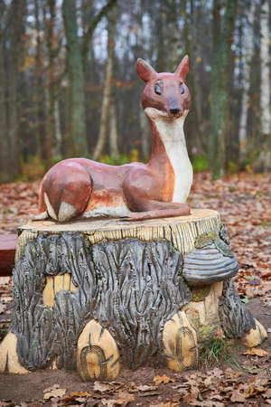 St. Petersburg, Russia - November 4, 2020: Park Dubki in Sestroretsk. Children's playground with sculptures of fairy-tale characters. Fabulous character roe deer
